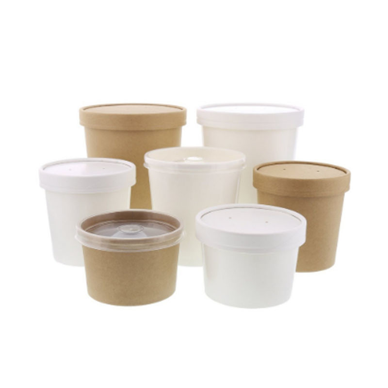 Soup paper container with paper lids